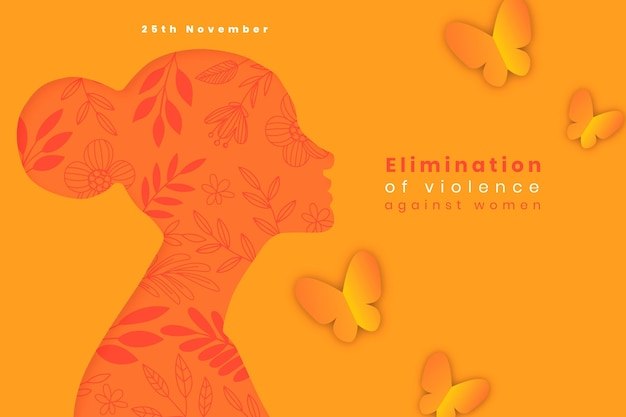 Handgetekende platte internationale dag voor de uitbanning van geweld tegen vrouwenachtergrond