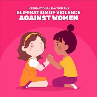 Handgetekende platte internationale dag voor de uitbanning van geweld tegen vrouwenillustratie