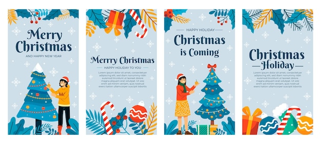 Handgetekende platte kerst instagram verhalencollectie