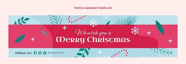 Handgetekende platte kerst twitch banner