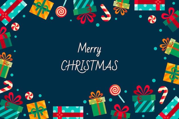 Handgetekende platte kerstachtergrond met cadeautjes