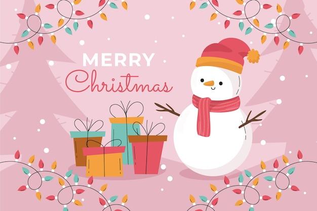 Handgetekende platte kerstachtergrond met sneeuwpop en cadeautjes