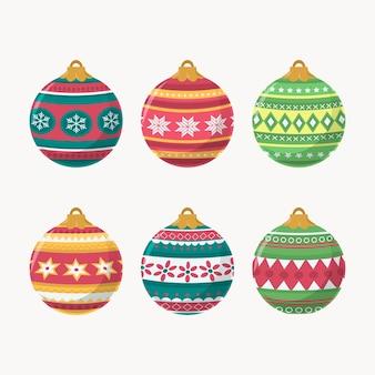 Handgetekende platte kerstbal ornamenten collectie