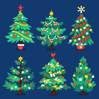 Handgetekende platte kerstbomen collectie
