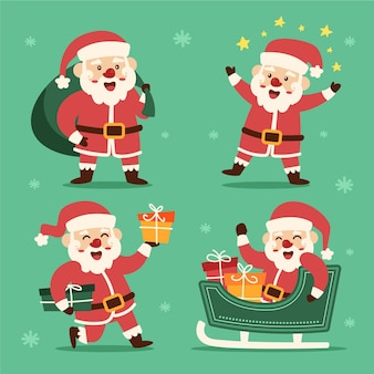 Handgetekende platte kerstman tekens collectie