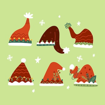 Handgetekende platte kerstmuts collectie