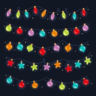 Handgetekende platte kerstverlichting collectie