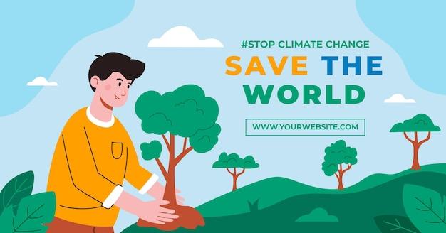 Handgetekende platte klimaatverandering facebook post