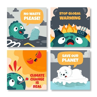Handgetekende platte klimaatverandering instagram posts collectie