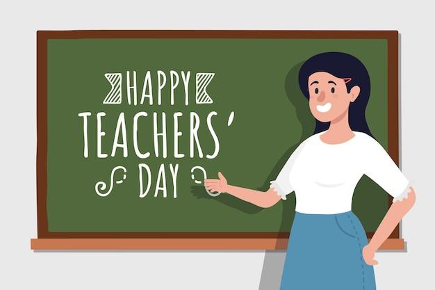 Handgetekende platte lerarendag achtergrond