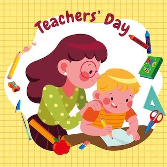 Handgetekende platte lerarendag illustratie