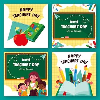 Handgetekende platte lerarendag instagram posts collectie