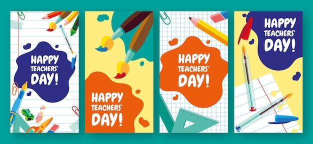Handgetekende platte lerarendag instagram verhalencollectie