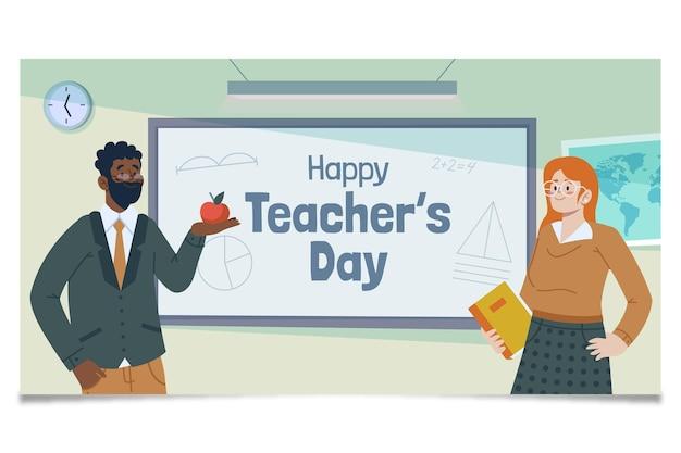 Handgetekende platte lerarendag social media postsjabloon