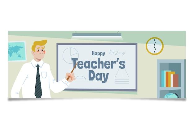 Handgetekende platte lerarendag sociale media voorbladsjabloon