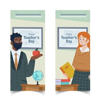Handgetekende platte lerarendag verticale banners set