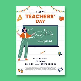 Handgetekende platte lerarendag verticale postersjabloon
