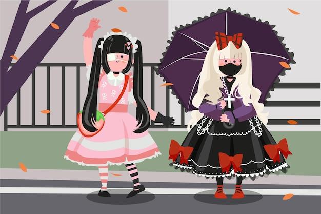 Handgetekende platte lolita-stijl meisjes