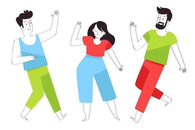 Handgetekende platte mensen dansen