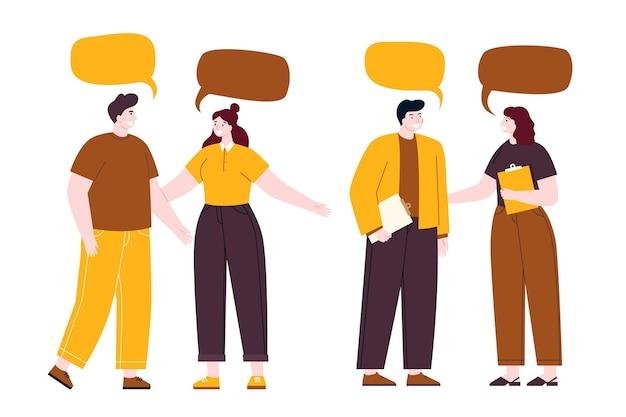 Handgetekende platte mensen gesprek