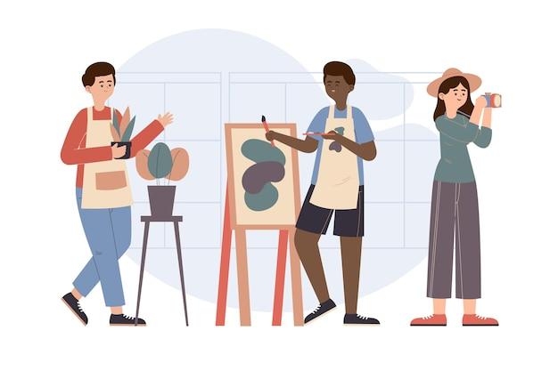 Handgetekende platte mensen hobby's