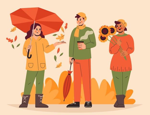 Handgetekende platte mensen in herfstillustratie