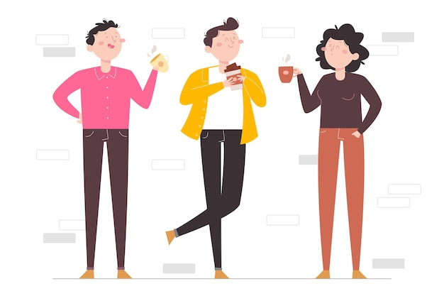 Handgetekende platte mensen met warme dranken