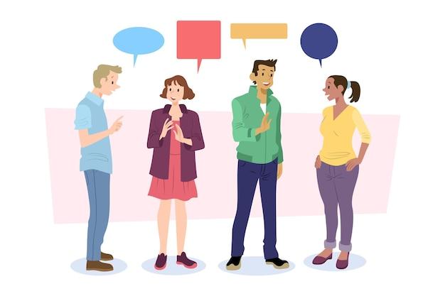 Handgetekende platte mensen praten