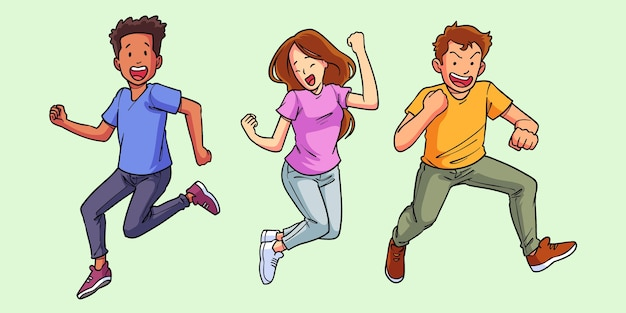 Handgetekende platte mensen springen