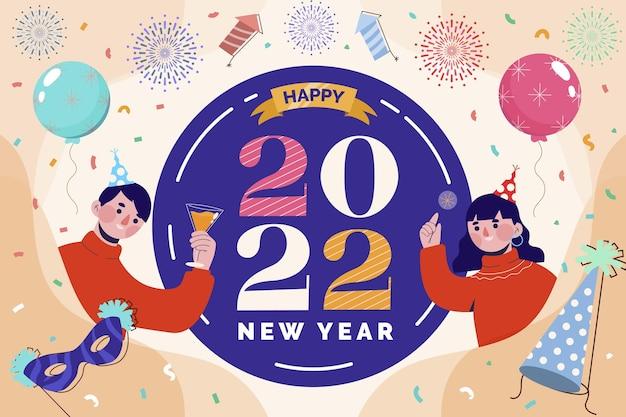 Handgetekende platte nieuwjaarsachtergrond