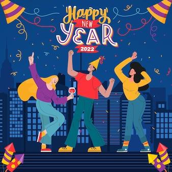 Handgetekende platte nieuwjaarsillustratie met mensen die vieren