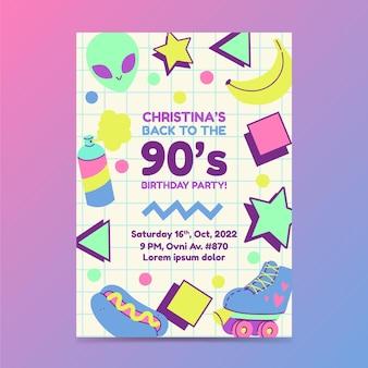 Handgetekende platte nostalgische 90's verjaardagsuitnodigingsjabloon