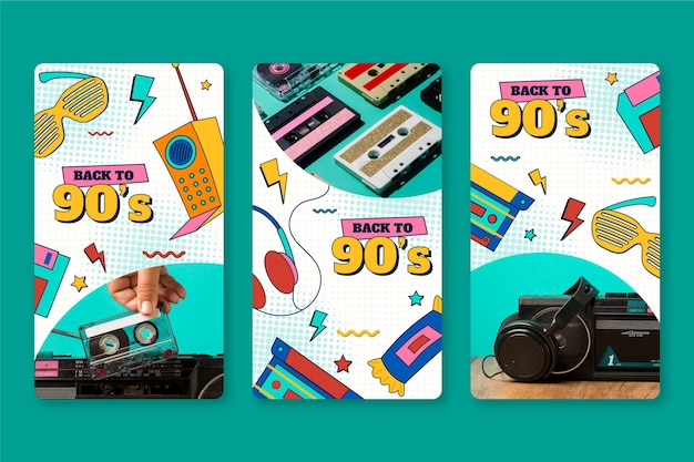 Handgetekende platte nostalgische instagramverhalen uit de jaren 90 met foto