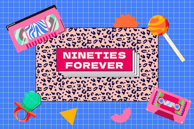 Handgetekende platte nostalgische jaren 90 achtergrond