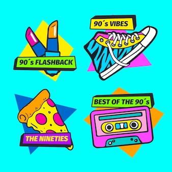 Handgetekende platte nostalgische jaren 90 badge set