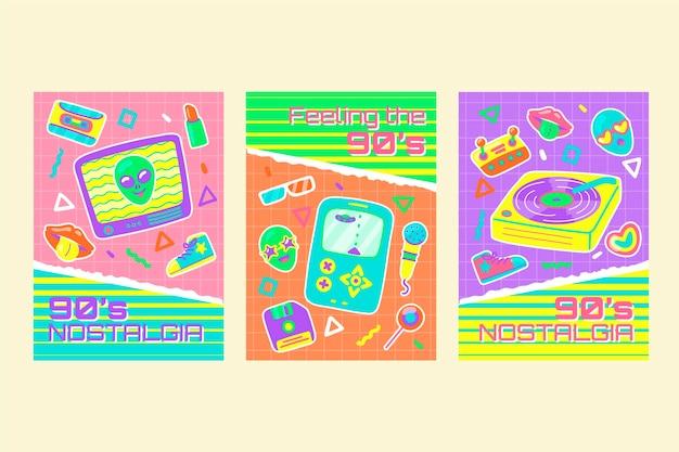 Handgetekende platte nostalgische jaren 90 coverscollectie