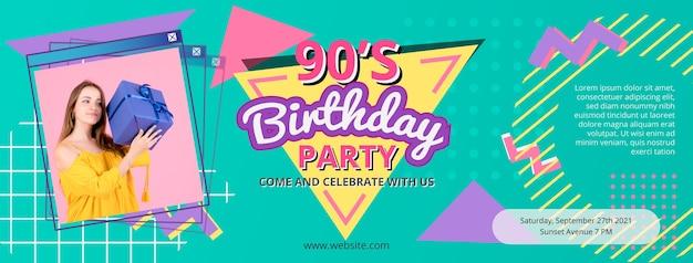 Handgetekende platte nostalgische jaren 90 facebook-omslag
