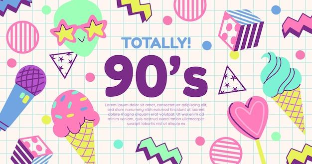 Handgetekende platte nostalgische social media postsjabloon uit de jaren 90
