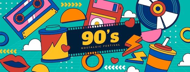 Handgetekende platte nostalgische sociale media voorbladsjabloon uit de jaren 90