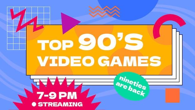 Handgetekende platte nostalgische youtube-kanaalkunst uit de jaren 90