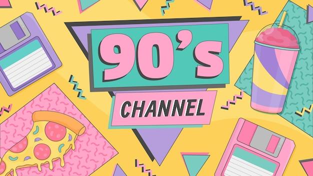 Handgetekende platte nostalgische youtube-kanaalkunstsjabloon uit de jaren 90