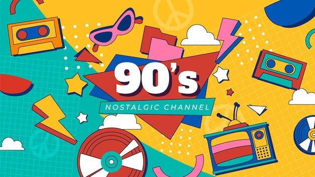 Handgetekende platte nostalgische youtube-miniatuursjabloon uit de jaren 90