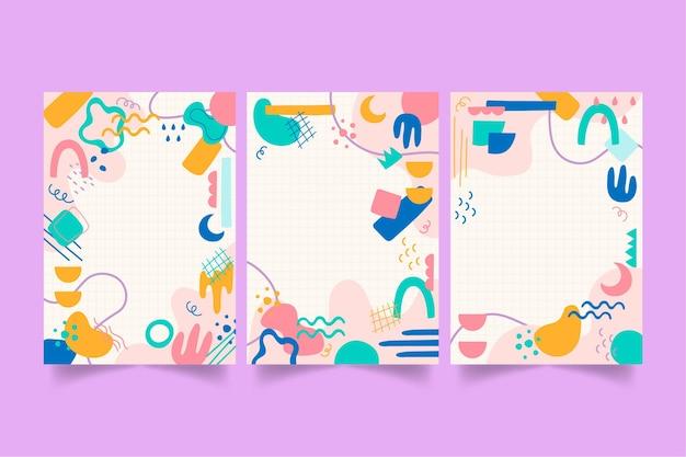Handgetekende platte ontwerp abstracte vormen covers