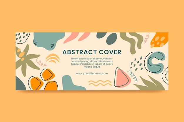 Handgetekende platte ontwerp abstracte vormen facebook cover
