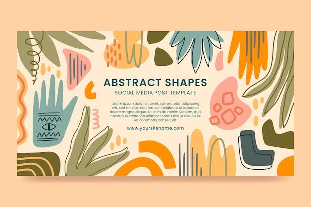 Handgetekende platte ontwerp abstracte vormen facebook post