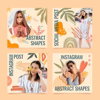 Handgetekende platte ontwerp abstracte vormen instagram posts