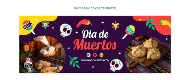 Handgetekende platte ontwerp dia de muertos facebook cover