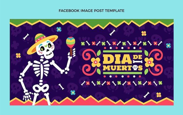 Handgetekende platte ontwerp dia de muertos facebook post