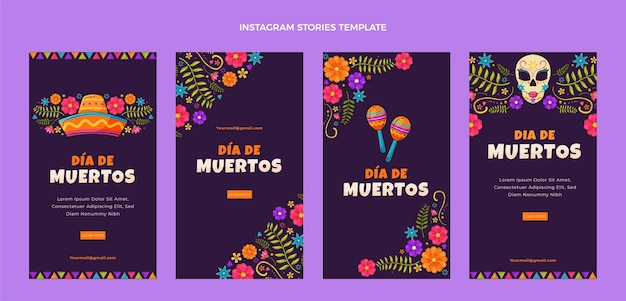 Handgetekende platte ontwerp dia de muertos ig verhalen