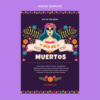 Handgetekende platte ontwerp dia de muertos poster
